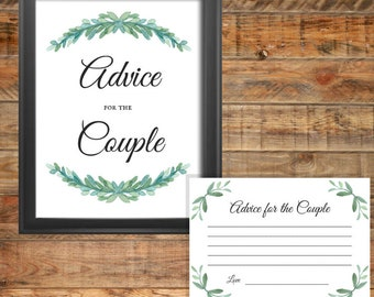 Greenery Advice for the Couple Cards and Sign Printable Wedding Game or Bridal Shower Game, Instant Digital Download