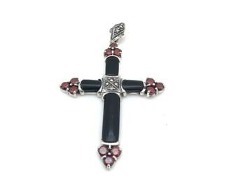 Black Onyx Marcasite Cross