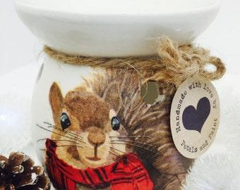 Handmade Wax Oil Burner Christmas Winter Squirrel