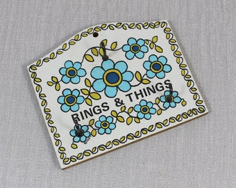 1970s Melamine and Wood Rings and Things Taunton Vale Wall Key Holder Blue and Green Retro Flowers