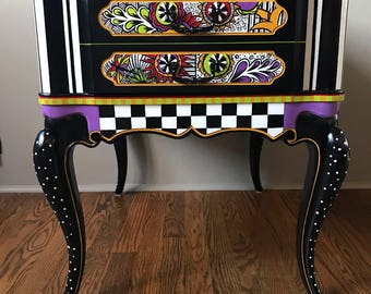 One of kind hand painted end table