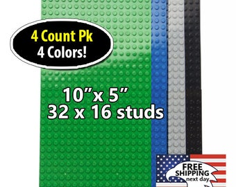 "For LEGO® Bricks - Compatible Base plates 10""x5"" 32x16 Studs Baseplates - Pack of 4 Baseplates"