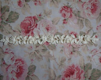 "Antique Carved Roses & Leaves Moulding Trim 22"" Length Furniture Applique Architectural Onlay"
