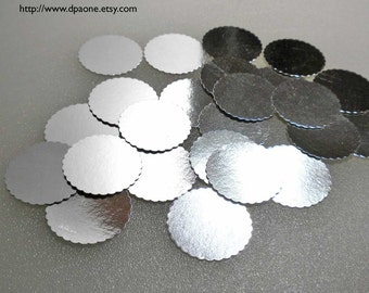 Dollhouse Miniature Supplies - 25 Silver Foil Bakery Boards for Dollhouse miniature Cakes and Bakery Treats
