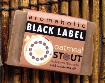 Oatmeal Stout Black Label craft beer soap - vanilla, cocoa butter, coffee, and amber soap with oat kernel oil - oatmeal beer soap