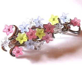 vintage french designer signed flower hair barrette clip wedding Paris 1980's