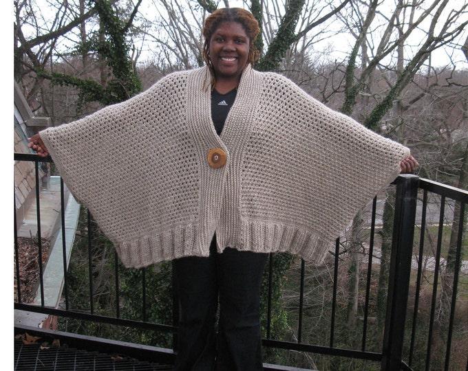 OVERSIZE SWEATER COAT Cardigan/ Poncho, Plus size  Cashmere/wool Blend Brown Heather Kimono style