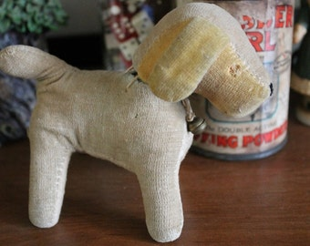 Antique Puppy dog toy-Primitive dog doll-Stuffed dog-Victorian toys-Plush puppy-Very old plush puppy toy