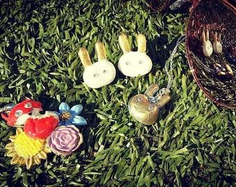 Alice in wonderland made, White Rabbit, Clay Rabbit Studs, 24ct gold, Swarovski crystals, made in the UK, Birthday, Wedding, Gift, Festival