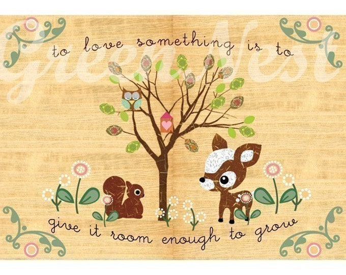 cute  forest friends (owl, deery, squirrel) collage art Poster Print