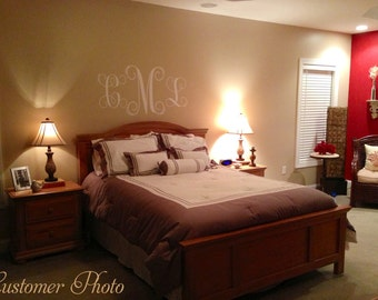 Monogram PERSONALIZED initial 46x22 Master Bedroom Vinyl Wall Lettering Words Quotes Decals Art Custom
