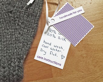 Purple Colors, Garment Gift Tags for Hand Knits, Printable
