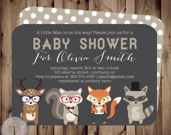 Forest Friends BABY Baby Shower Invitation, baby shower invite, animals, deer, hipster, neutral, woodland animals, boy or girl, little man,