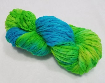 Thick 'n Thin Bulky Weight Hand Dyed Yarn - 4 ounces/125 yards - Bright Lime Green, Turquoise and a Touch of Yellow