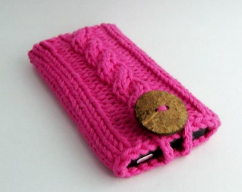 Mobile Accessory Cell Phone Case for Apple iPhone or Samsung GalaxyModels Gadget Sleeve Handknit Hot Pink with Coconut Button crochet loop