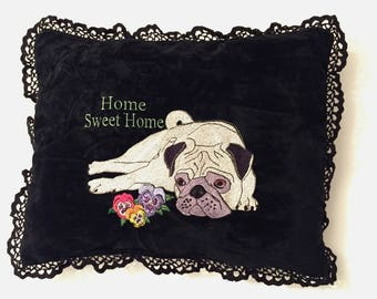 Embroidered Pug Cushion