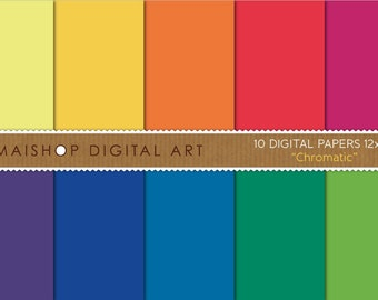 Solid Color Digital Paper 'Chromatic' Rainbow Plain Scrapbook Printable Papers for Scrapbooking, Decoupage, paper Crafts, DIY Projects...