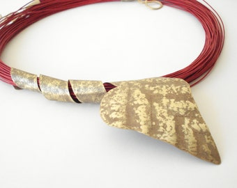 Hammered Bronze Pendant Red Multi Strand Cord Necklace Statement  Unique Antique Faced Brass Leaf Red Cord Necklace Metalwork Pendant