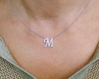 14kt. Gold Diamond Initial Necklace, Personalized Initial Necklace, Gold Initial Necklace, Diamond Initial Necklace, Letter Necklace