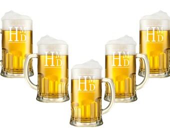 Personalized Beer Mugs - 12oz., Monogram Glasses,  Etched Glasses, Custom Engraved Beer Glasses, Beer Stein, Groomsman, Wedding Party Favor