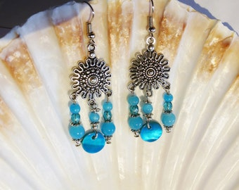 Chandelier earrings turquoise Crystal and Pearl