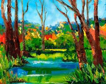 "Forest art, forest stream signed art print of original oil painting called ""Spring"""