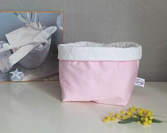 Pink fabric storage basket, pink quilted basket, basket layers, produces basket, storage room, bedroom kids room