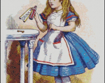 ALICE In WONDERLAND, DRINK Me, cross stitch pattern No.73