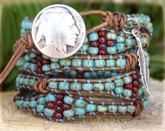 Native American Five Wrap Bracelet/ Beaded Wrap Bracelet/ Native American Inspired/ Southwestern Jewelry/ Boho Seed Bead Wrap Bracelet.