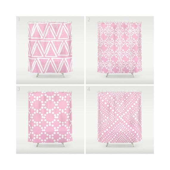 Pink Shower Curtain - Geometric Shower Curtain - Modern Shower Curtain - White Shower Curtain - Triangle Shower Curtain - Pink and White
