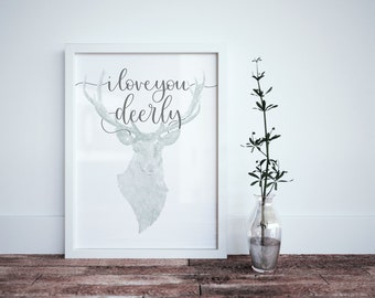 I Love You Deerly Calligraphy Print - Nursery Pastel Art - I Love You Watercolour Art - Children Room Decor - Love Art - Watercolor Animal