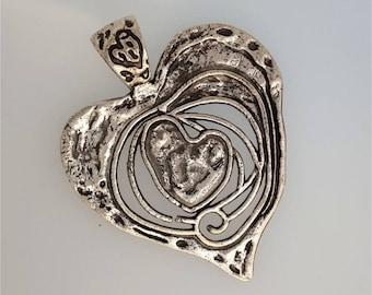 Large heart antique silver, antique silver heart heart #3002 pendant