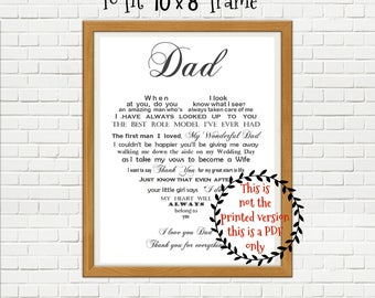 Father of the Bride gift from Daughter, PRINT YOUR OWN Dad gift, Dad and Daughter, Thank you gift, wedding gift parents, printable