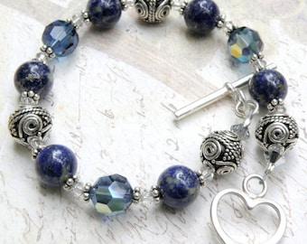 Lapis Lazuli Bracelet, Sterling Silver, Lapiz Navy Blue Round Stone, Beaded Jewelry, Gemstone Gift, Casual Women Gift, Handmade