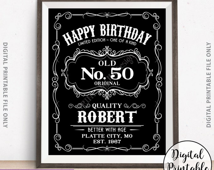 Happy Birthday Sign, Aged to Perfection Vintage Whiskey Themed Birthday Poster, Better with Age Sign, Black & White Digital Printable File