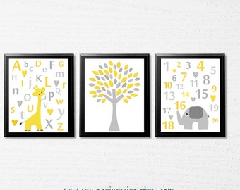 Yellow and grey animals Nursery Art Print Set, Kids Room Decor, Children Wall Art - alphabet and numbers,tree, elephant, giraffe  - UNFRAMED