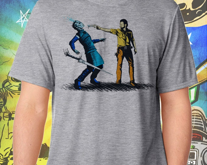 Game of Thrones / Walking Dead  / Rick Grimes Ends The Night King's Winter / Men's Gray Performance T-Shirt