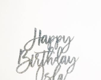 Birthday Cake Topper, Personalized Birthday Topper, Laser Cut Cake Topper, Acrylic, Personalized Name, Happy Birthday