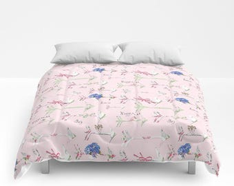 Comforter, Happiness, love, Joy Hydrangea bedding  twin, full/queen and King sizes