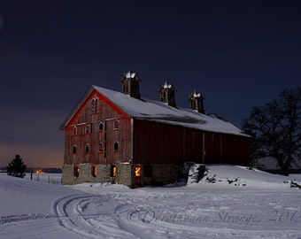 Late Night, art photography, moonlight, red barn, snow, winter landscape, rural, nostalgia,country life, cold, home decor, office decor