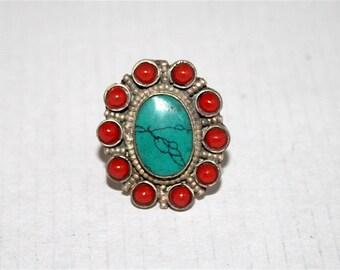 Turquoise ring, Coral ring, silver ring, boho ring, tribal ring, gypsy ring, flower ring, Tibetan ring, Turquoise jewelry, coral jewelry