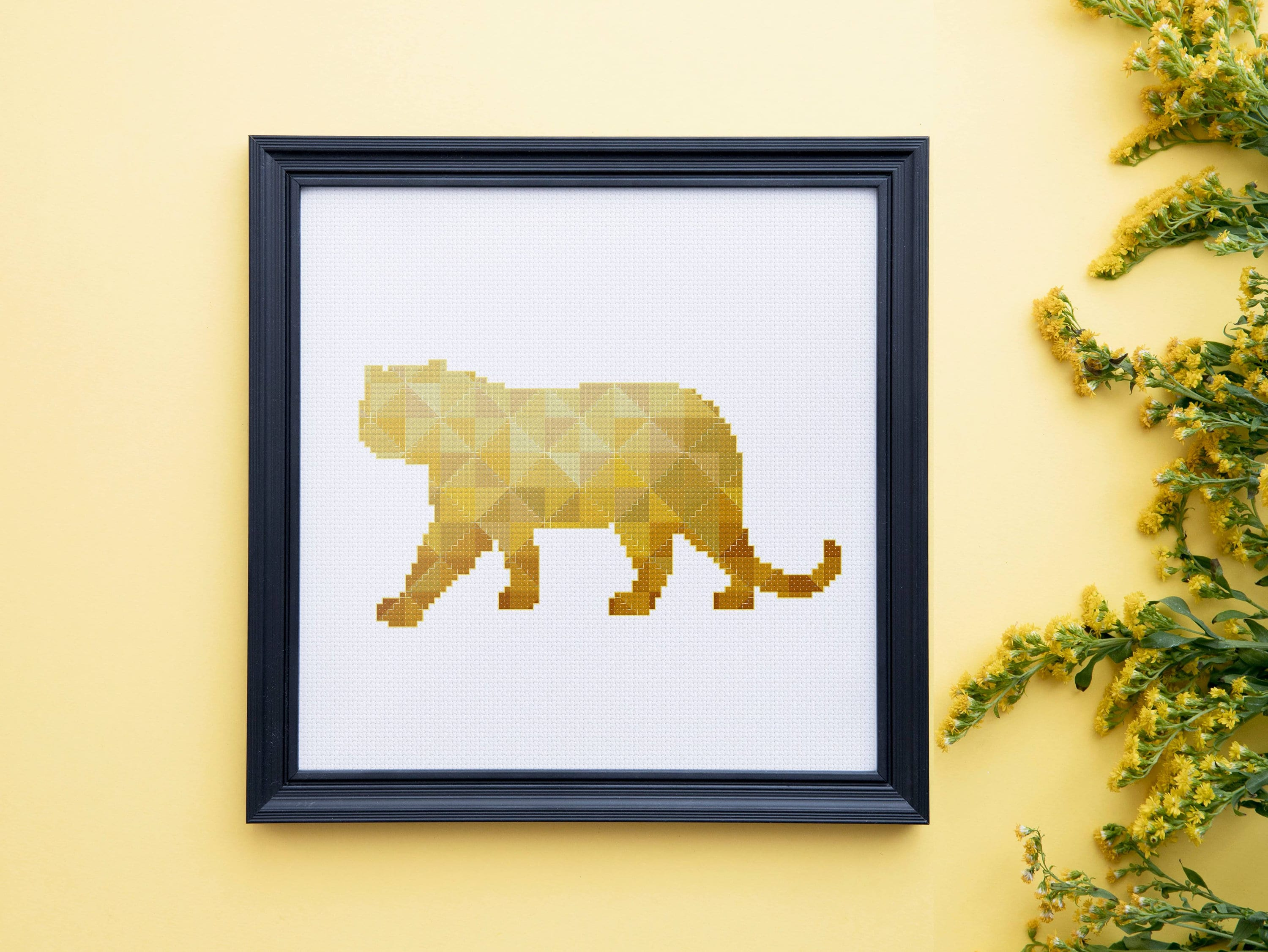Geometric Tiger cross stitch pattern, modern baby nursery minimalist ...