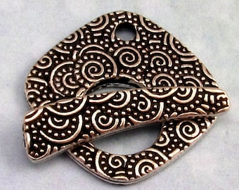 Large Spiral Toggle Clasp, Antique Silver, TierraCast, TS31