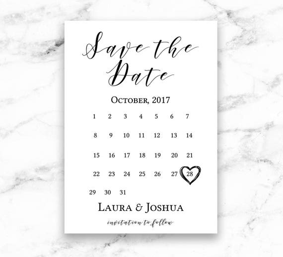 Modern Script Wedding Save The Date Calendar Invitation