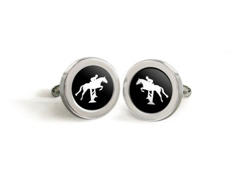 Hunter Jumper Horse and Rider Silhouette Cufflinks - Mod Warmblood Thoroughbred Tuxedo Cuff Links in your choice of color