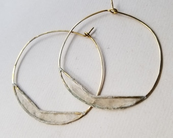 Paper Chevron Hoops, Large : Sterling Silver or Brass with Handmade Paper Windows