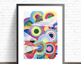 Colorful Wall Art. Modern Home Decor. Abstract Watercolor Print. Modernist  Painting. Modern