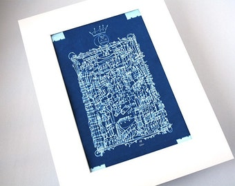 THE SUN PRINCE | limited edition sunprint cyanotype | obsessive line drawing | blueprint with white mat | by Kathryn DiLego