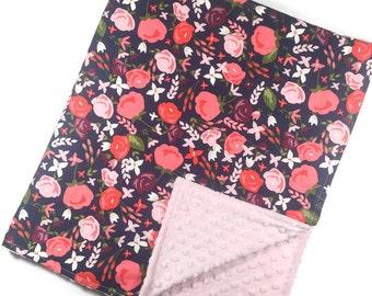 Navy Floral Crib Blanket - Baby Blanket - Minky Blanket - Floral Blanket - Floral Baby Blanket - Girl Blanket - Floral Bedding