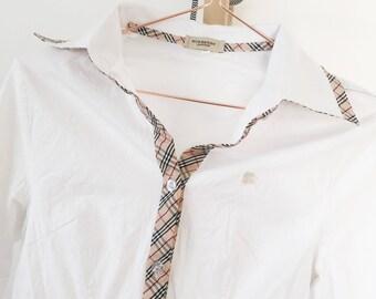 Burberry Original Blouse Female White Size S Premium Vintage